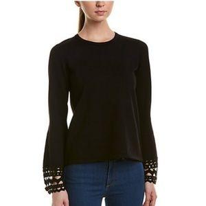 Catherine Malandrino Crochet-Cuff Sweater Sz S
